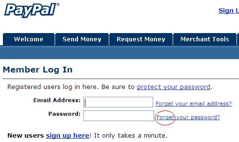 PayPal Login Screen Grab