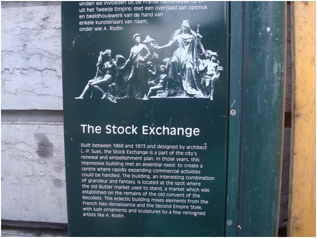 """The tourist friendly signboard outside the """"Bourse"""" at Brussels."""